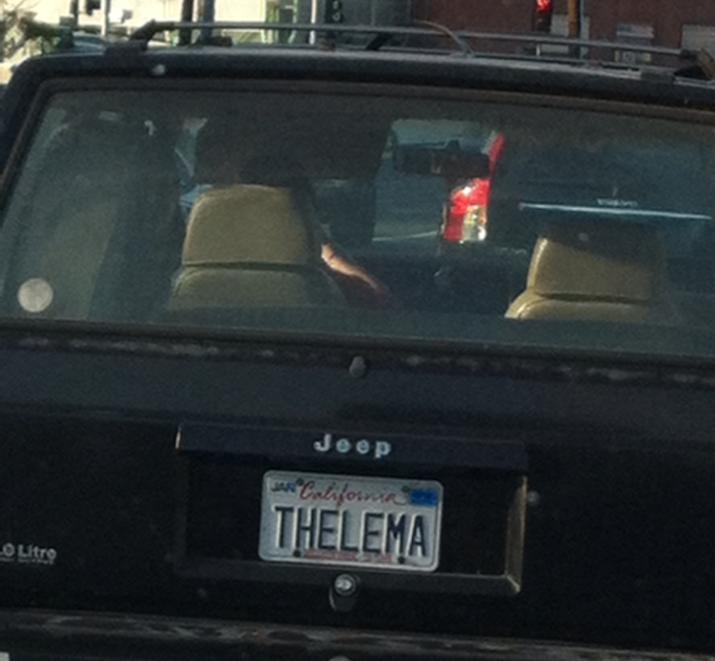 Thelema license plate
